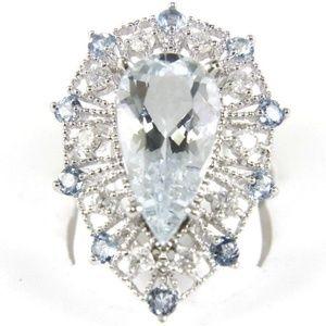 Pear Aquamarine Ring w/Diamond Halo 14k WG 7.12Ct